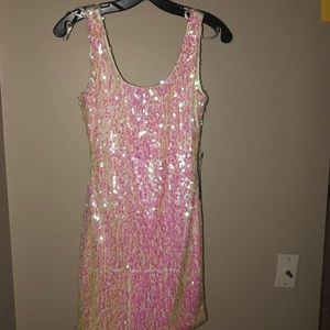 White mini dress with pink holographic beads